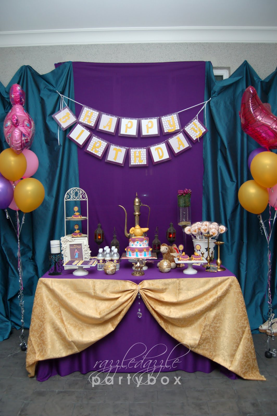 Razzle dazzle party box theme birthday party moroccan for Aladdin decoration ideas