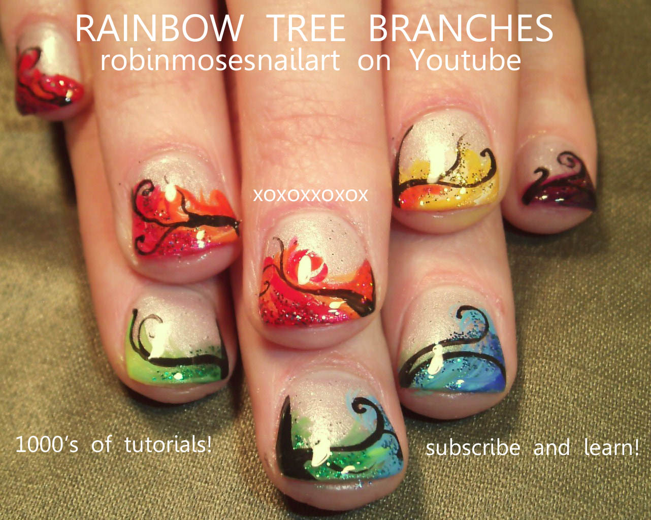 Rainbow Nails Tree Branches