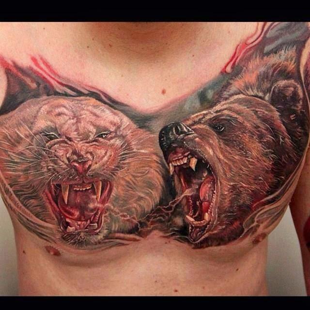 Tatuaje oso vs tigre