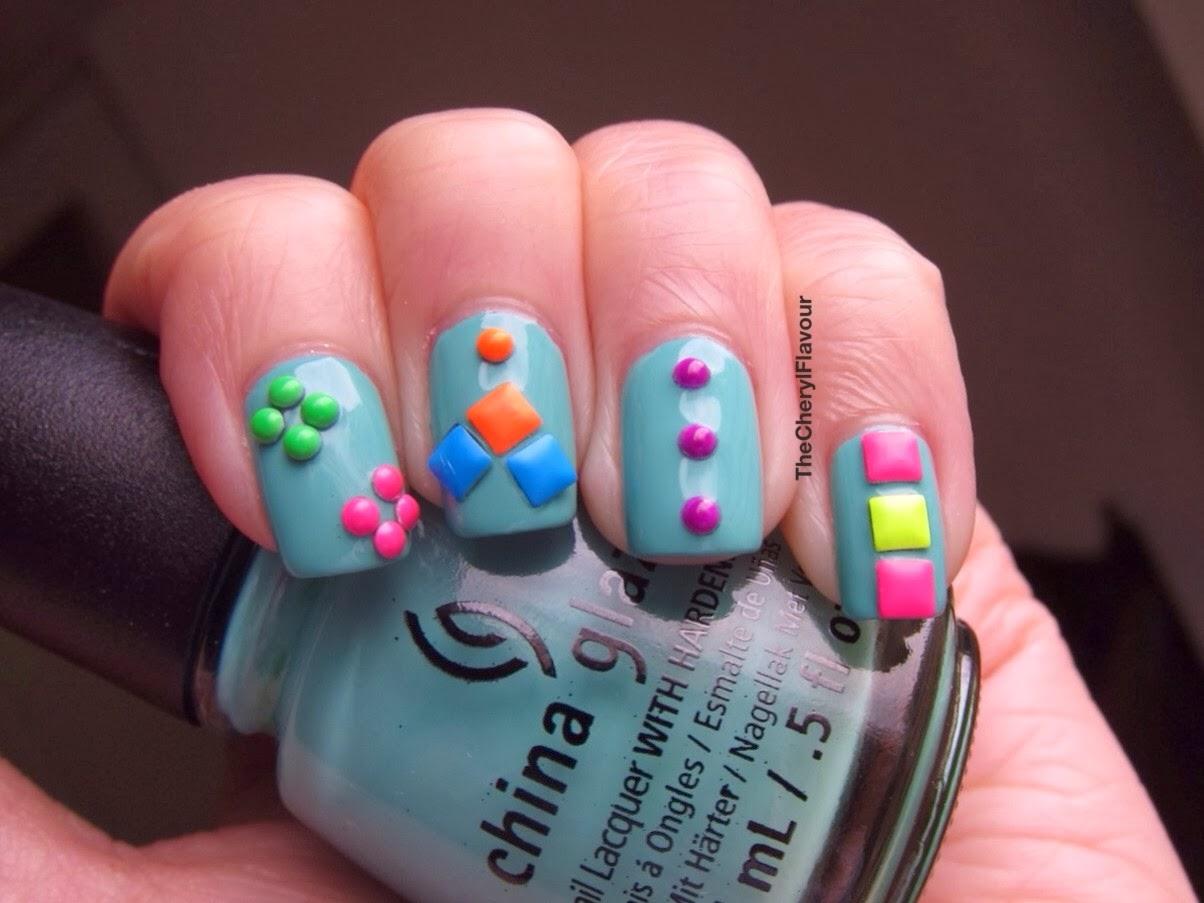 Nail Art Neon Studs