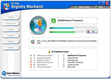 Tampilan Registry Mechanic Saat Melakukan Scanning