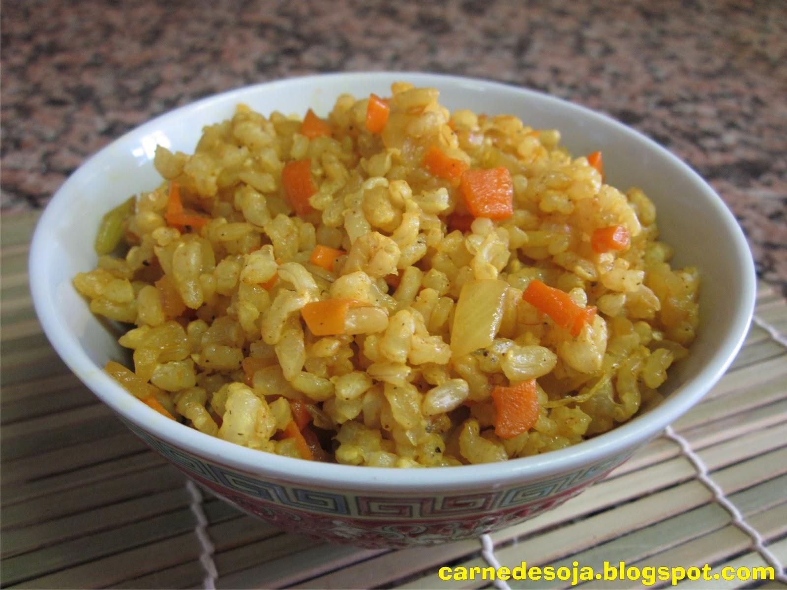 carne de soja arroz integral con c rcuma