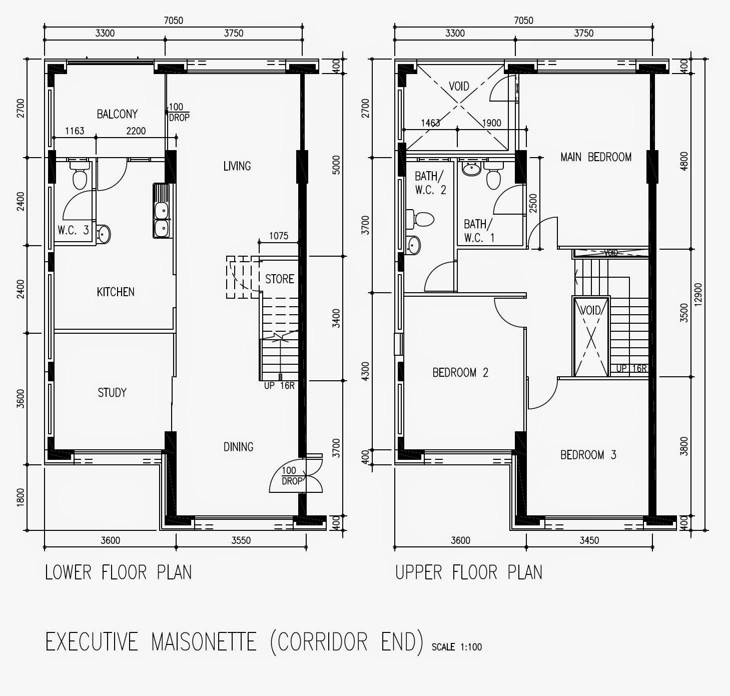 Butterpaperstudio reno cck maisonette basic hdb floorplan for Maisonette plans