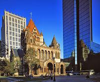 Trinity Church's reflectinon  on John Hancock towers  in Boston