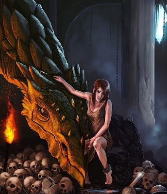 digital art girl,fantasy dragon,cool dragon
