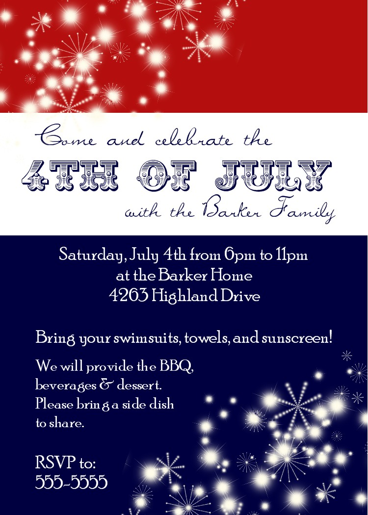 Fourth Of July Invitation Template Free