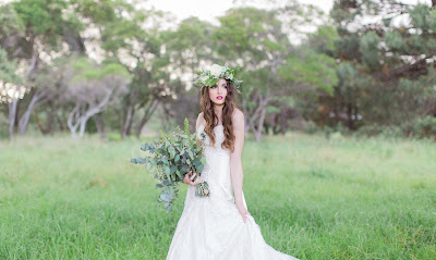 Bridal Photoshoot Inspiration - Floral crown, vintage style props and bold lip colour