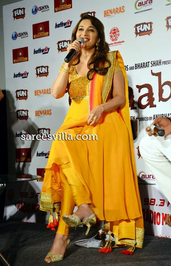 Madhuri Dixit in yellow anarkali