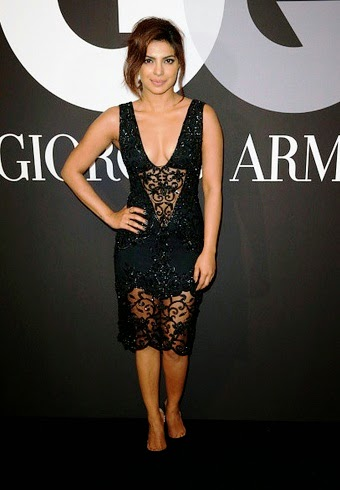 Priyanka Chopra sexy belly in Black See-through Dress at GRAMMY After Party