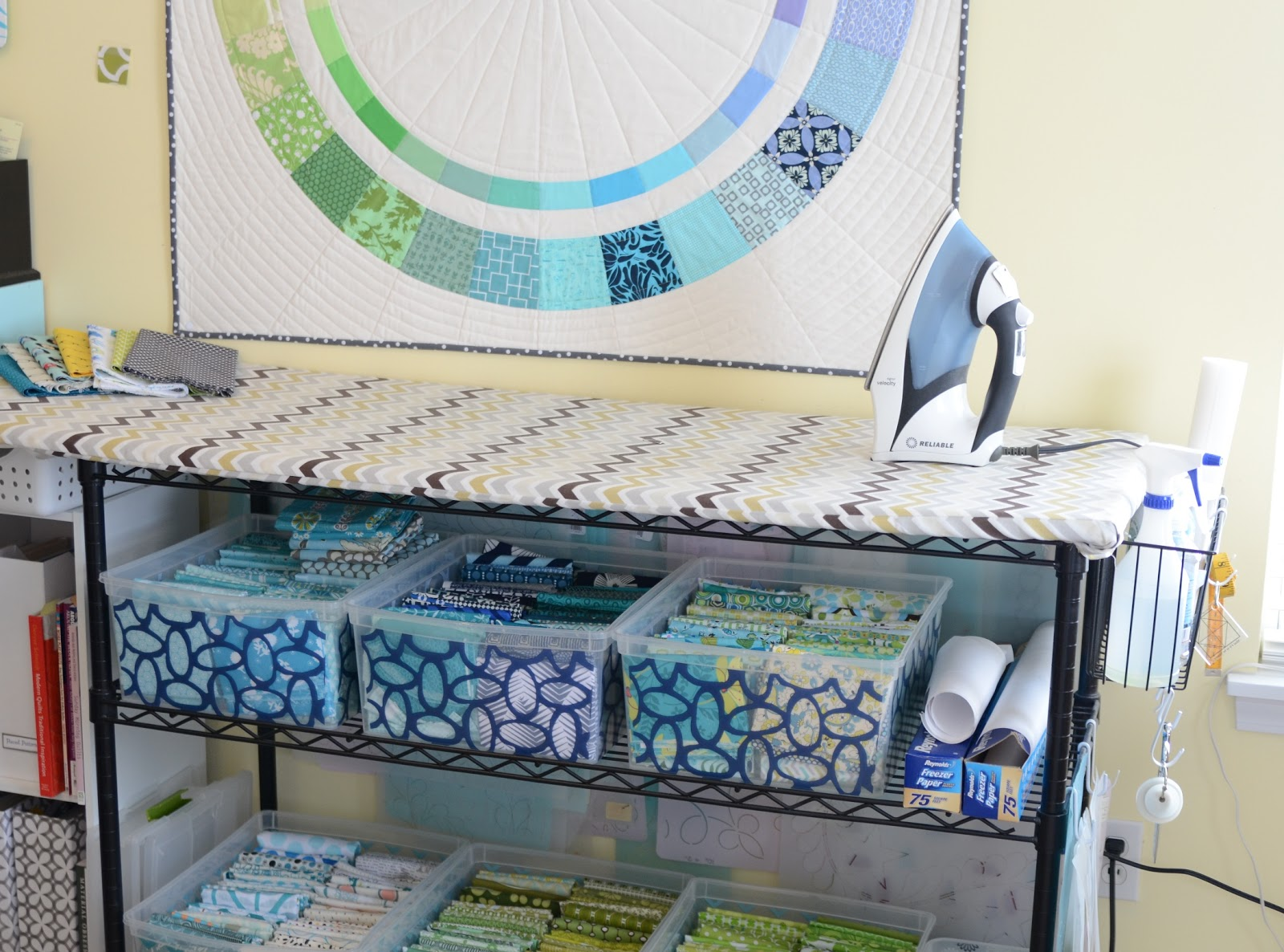 Quilting Room Design Ideas Part - 33: To The Left Of The Ironing Station Are Couple Of Small Storage Cubes From  Target. Here I Keep My Most Frequently Used Books. Iu0027m A Quilt Book  Hoarder, ...