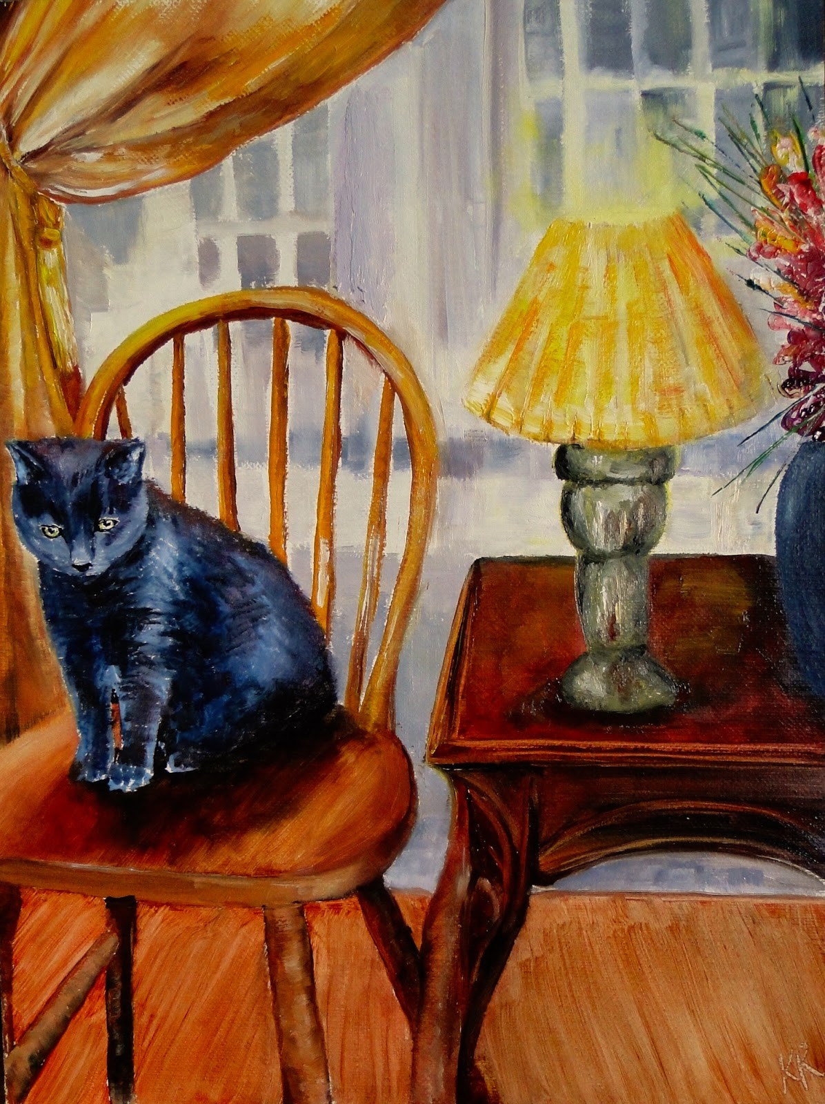a small, black cat; seated on a wheel back chair, oil painting of a room interior, a pet portrait by karen