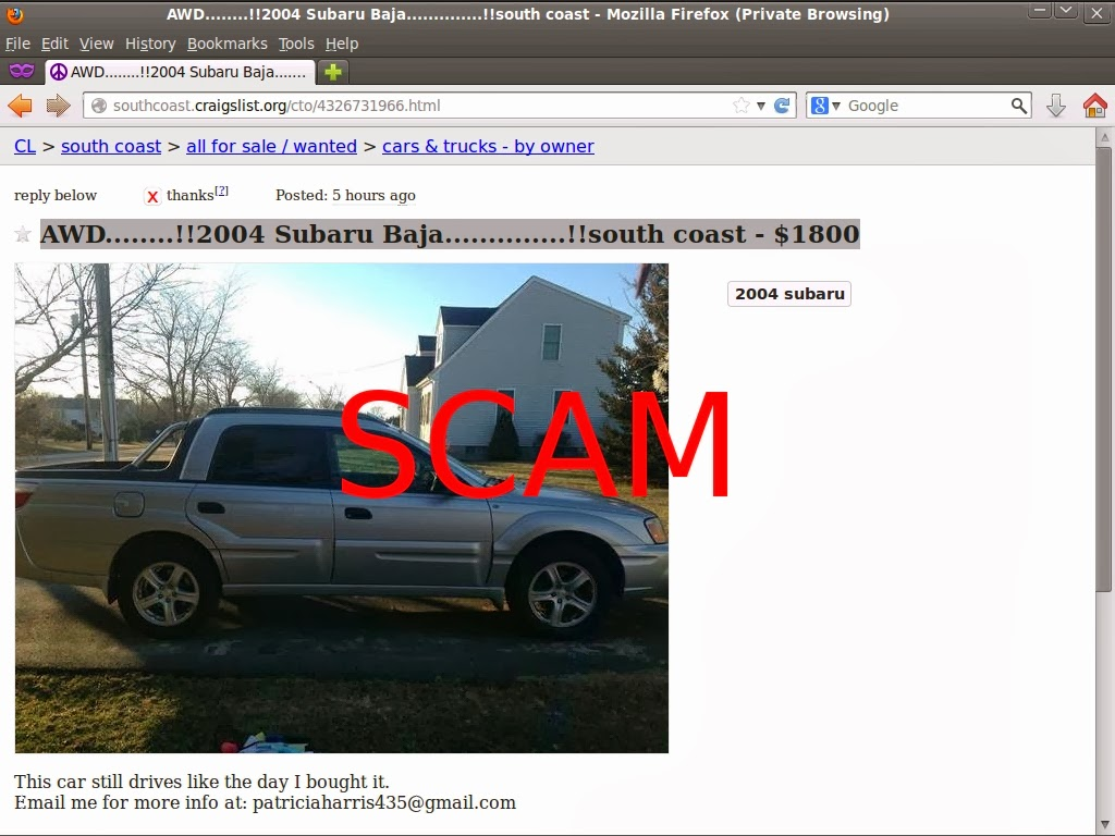 Craigslist Car Scam List For 02 10 2014 Vehicle Scams