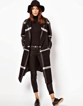 ASOS Longline mono check coat