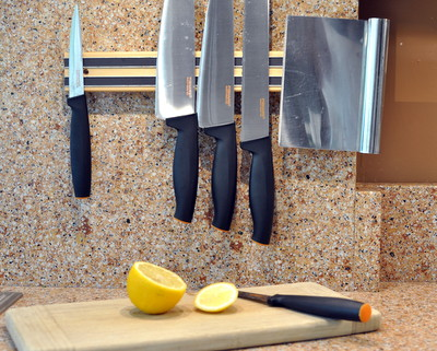 Magnetic Knife Racks, One of Ten Things I Love About Our New Kitchen ♥ KitchenParade.com. Surprisingly, seven don't require a remodeling budget or construction dust.