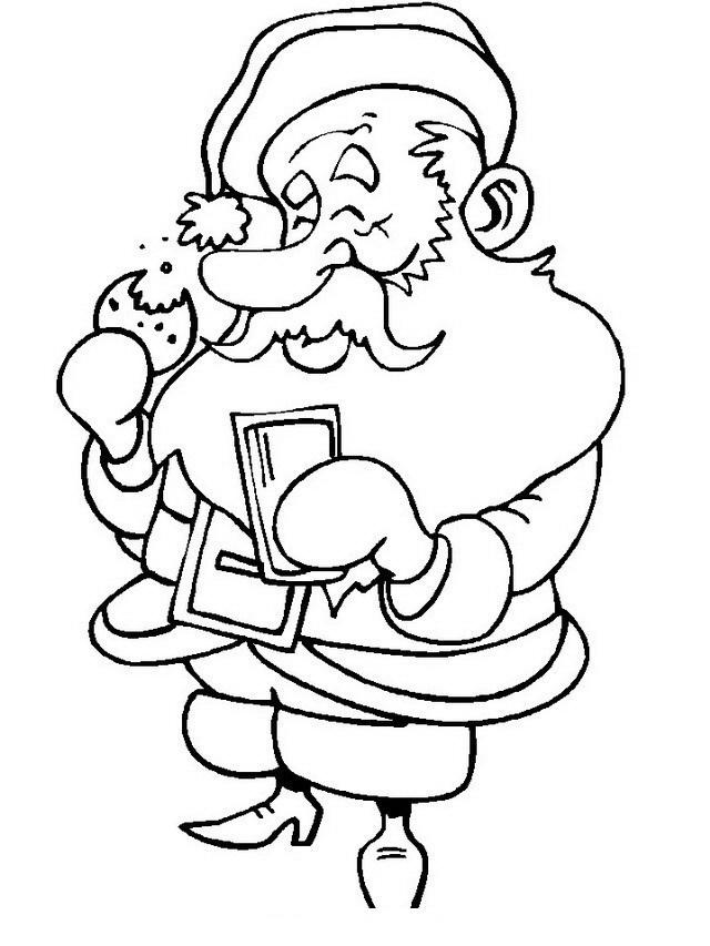 Papá Noel comiendo galletas con leche para colorear y pintar ...