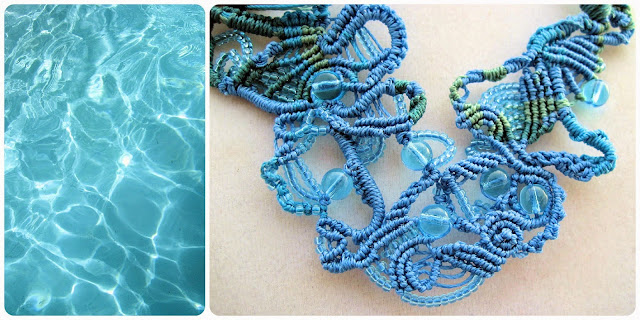 Freeform macrame inspired by water.