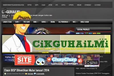 Macam nih lah rupanya bila blog cikguhailmi di view guna Chrome