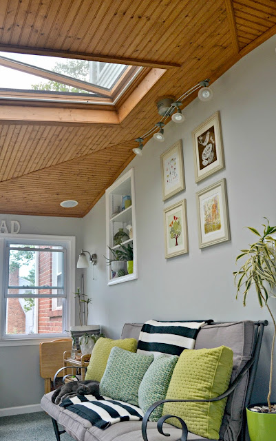 grey sunroom bead board ceiling