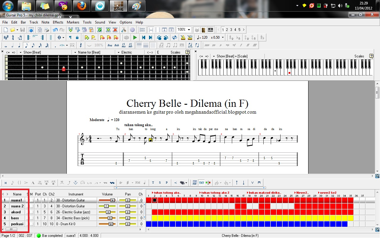 Aransemen Lagu Cherry Belle Dilema di Guitar Pro 5