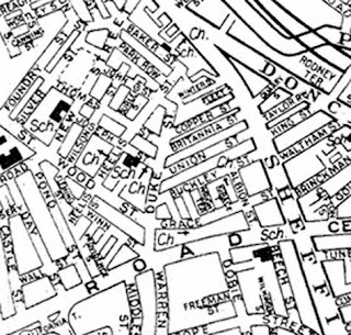 Map snip, black and white, street map style, showing closely packed roads between Sheffield Road and Park Road, Barnsley.