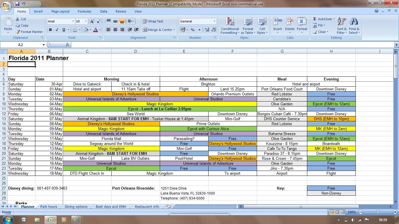 Staff Rota Excel Template