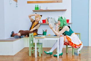Kanan Kaori and Watomune Cosplay as Gumi and Len from Vocaloid