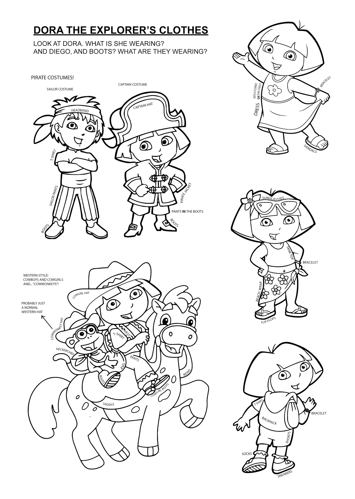 cowgirl dora coloring pages - photo#11