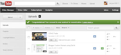 Adsense enabled in Youtube