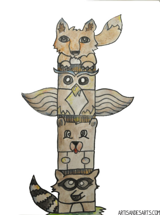 Free Coloring Pages Of Animal Totem Poles