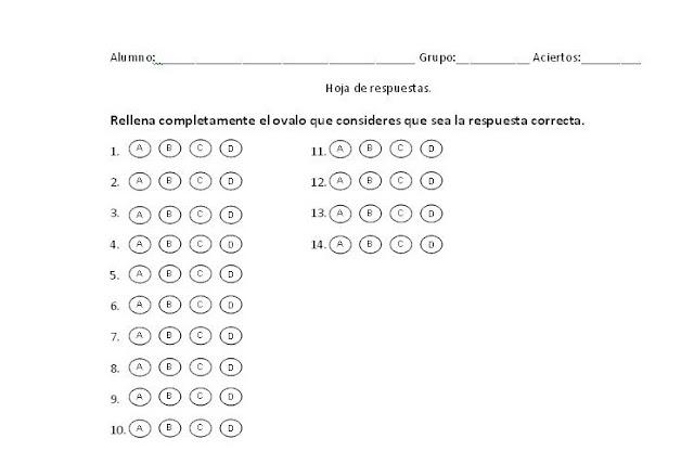 hoja respuestas:
