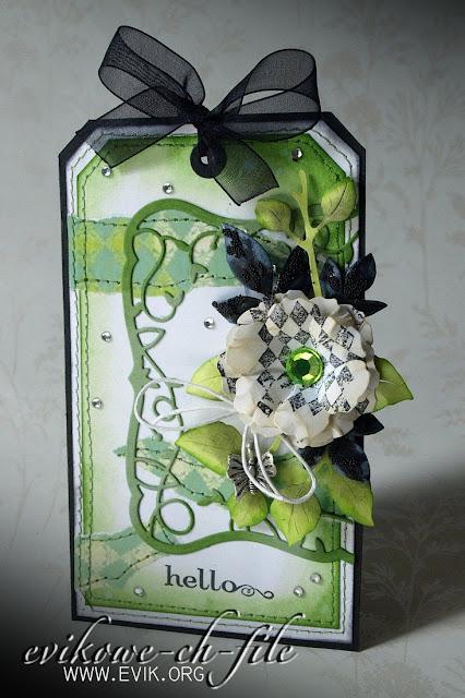 Tag, Sizzix Tim Holtz, Bigz Die,Tattered Florals, Memory Box Twirling Vine Frame (98299)