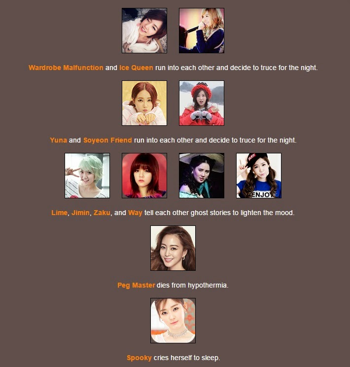 The first night started off with a bang as G-Dragon sets off a bomb killing  PTS Sr, kpopalypse, TOP, and Soyeon. Most of the other contestants have  teamed ...