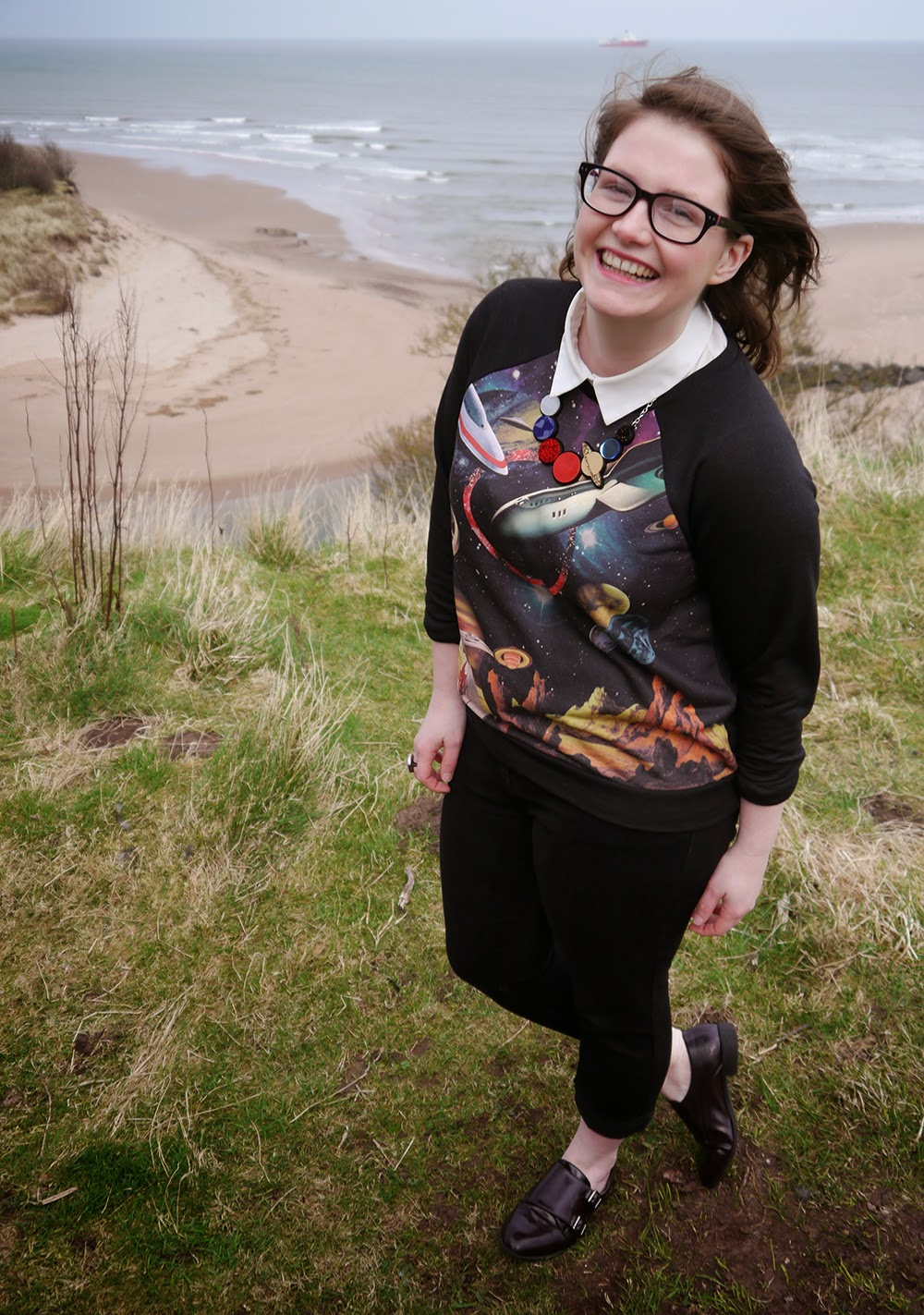 Be Our Guest, Guest Post, Little Sister, Scottish Blogger, Heather Mac, Mac In Your Face, Space Style, Topshop space jumper, Sugar & Vice space necklace, Lunan bay, Red Castle, Scotalnd, outfit post