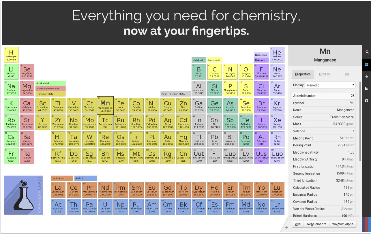 Excellent science apps to use on chromebooks educational chemreference is a detailed and powerful periodic table of the elements and chemistry reference tool designed with a fast workflow in mind gamestrikefo Choice Image