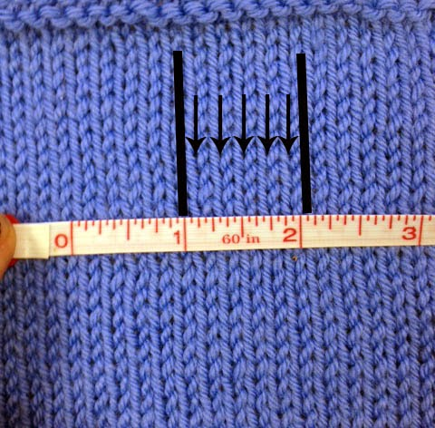 Knitting Stitches Per Inch Needle Size : Nordiculture: How to Make and Measure a Gauge Swatch