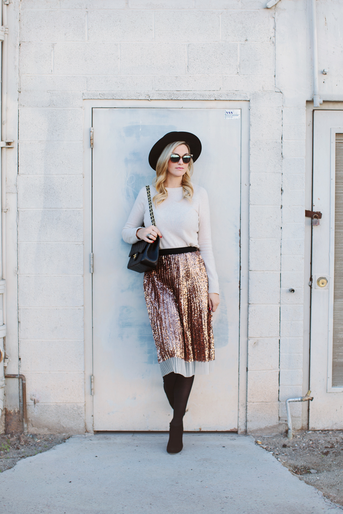Winter, Fall, Sequin, Pleated, Midi, Skirt, Kate Spade, Black, Suede, Aldaz, Netta, Booties, DKNY, Opaque, Tights, Equipment, Cashmere, Crewneck, Sweater, Heather Oatmeal, Tan, Nude, Chanel, Quilted, Jumbo, Purse, Janessa Leone, Gabrielle, Hat, Top Hat, Red Nails, Dior, 360 Pearl, Double Pearl, Earrings, Fendi, Cat Eye, Sunglasses, Winter Outfit, Outfit Inspiration, Outfit Ideas, Fashion Blog, Personal Style, Stylist, Caitlin Lindquist, A Little Dash of Darling, Topshop, Arizona, Scottsdale, Phoenix, Blogger