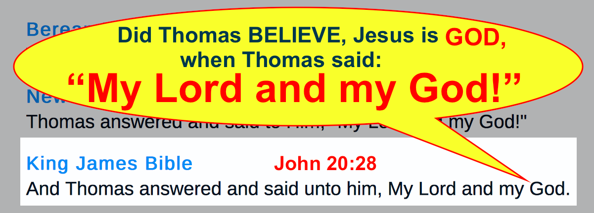 "Did Thomas BELIEVE, Jesus is GOD, when Thomas said ""My Lord and my God!"" John 20:28?"