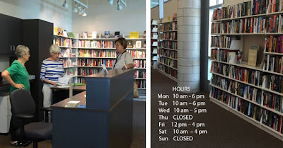 Two-panel image, Friends of Medford Library bookstore interior. In the left frame foreground, three women are grouped at a counter with shelves of books behind them. The right frame shows shelves of books with store hours superimposed over the image. Monday: 10 a.m. to 6 p.m.; Tuesday: 10 a.m. to 6 p.m., Wednesday: 10 a.m. to 5 p.m., Thursday: Closed, Friday: 12 p.m. to 4 p.m., Saturday: 10 a.m. to 4 p.m. and Sunday: Closed.