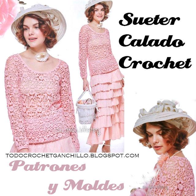 Delicado suéter calado al crochet / patrones y moldes | Todo crochet