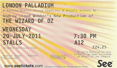 The Wizard of Oz  London Palladium ticket