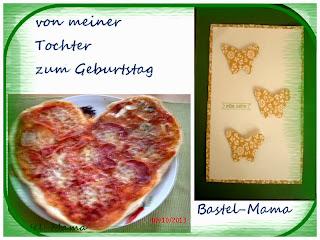 Geburtstag, Karte, Pizza, Schmetterling