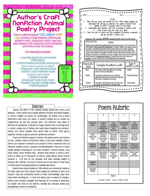 http://www.teacherspayteachers.com/Product/Authors-Craft-Nonfiction-Animal-Poetry-Project-CCSS-Aligned-Texts-included-1026235