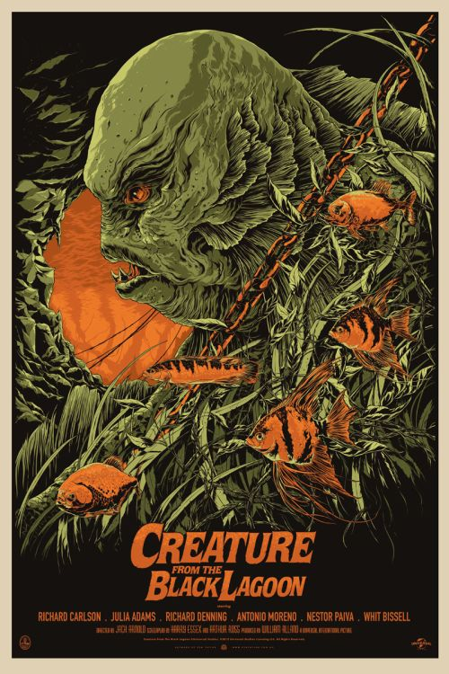 Ken Taylor illustrations movie posters silkscreen Creature from the Black Lagoon