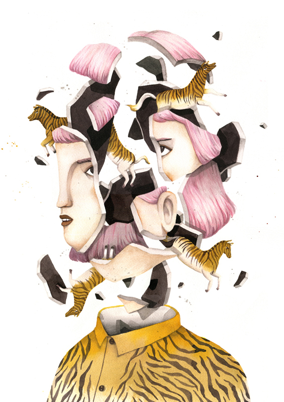 ©Andrea Wan - Exploding Heads. Ilustración | Illustration