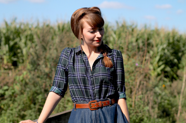 Checked skirt, denim skirt and plait