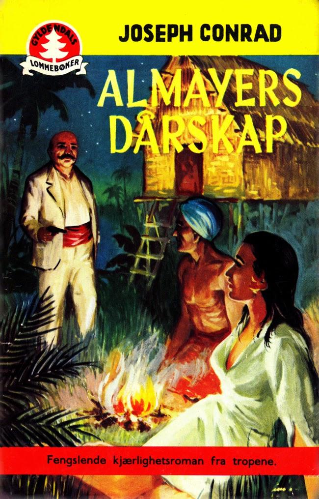 Almayers dårskap av Joseph Conrad, Gyldendals lommebøker 1953. Forsideillustrasjon av Birger Imislund.