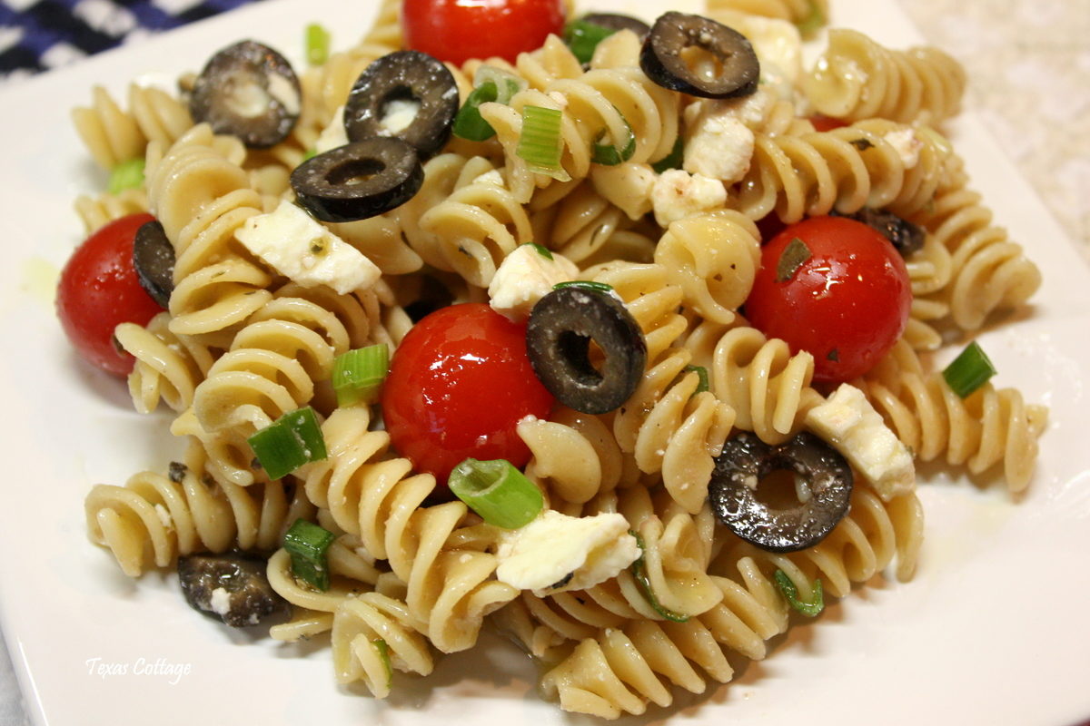 Greek Pasta Salad With Feta Cheese Salad with black olives