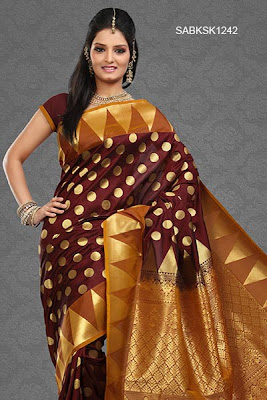 polka dots raw silk saree