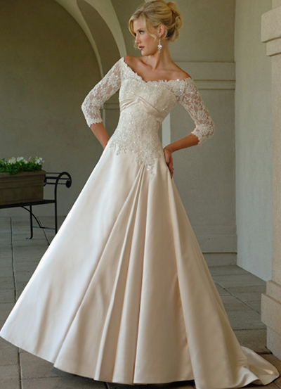Wedding Dresses  Lace Sleeves : White lace wedding dress design with sleeves