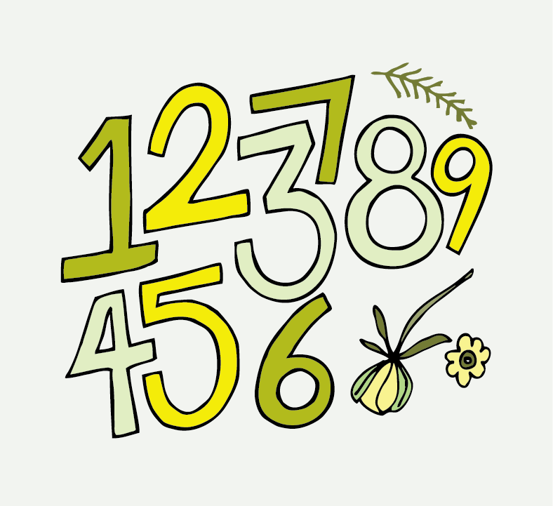 numbers and flowers in yellow and green
